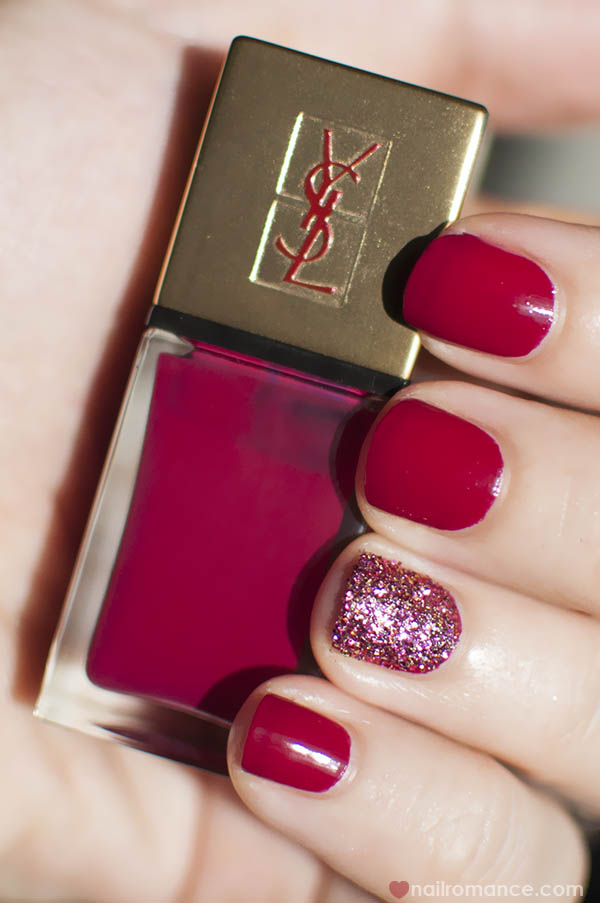 3D Glitter Feature nail YSL Fuchsia Cubiste polish - Nail Romance