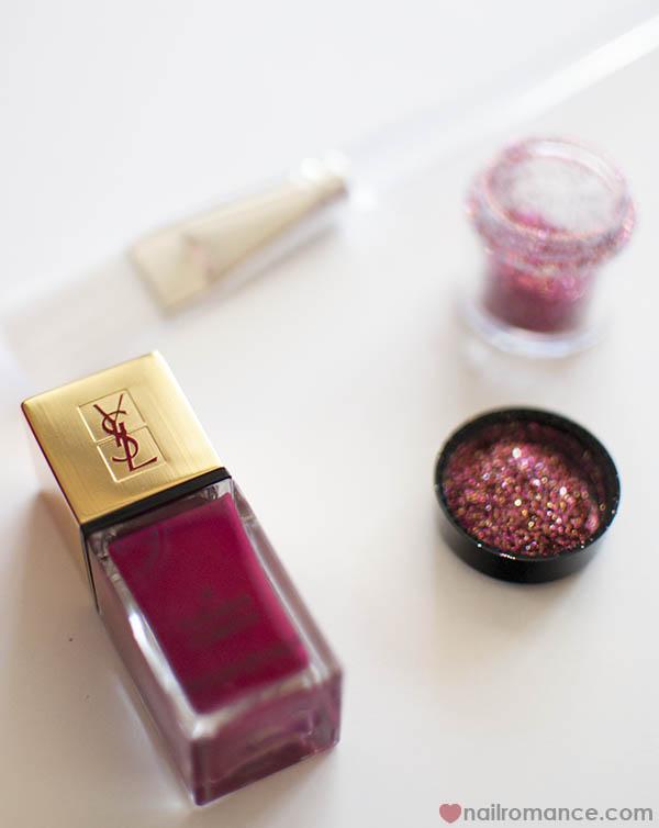 3D Glitter Feature nail YSL polish - Nail Romance