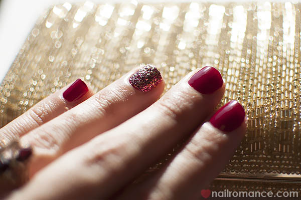 3D Glitter Feature nail art - Nail Romance