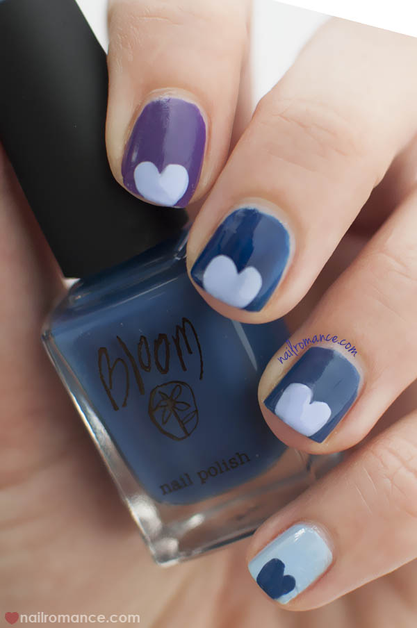 Nail Romance - Blue Purple multicolor nails with heart nail art