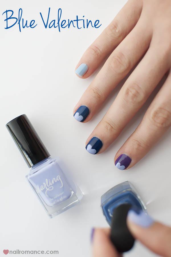 Nail Romance - Blue Valentine - blue purple ombre manicure
