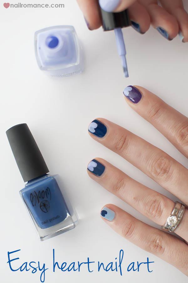 Nail Romance - Blue Valentine heart nail art - blue purple ombre manicure