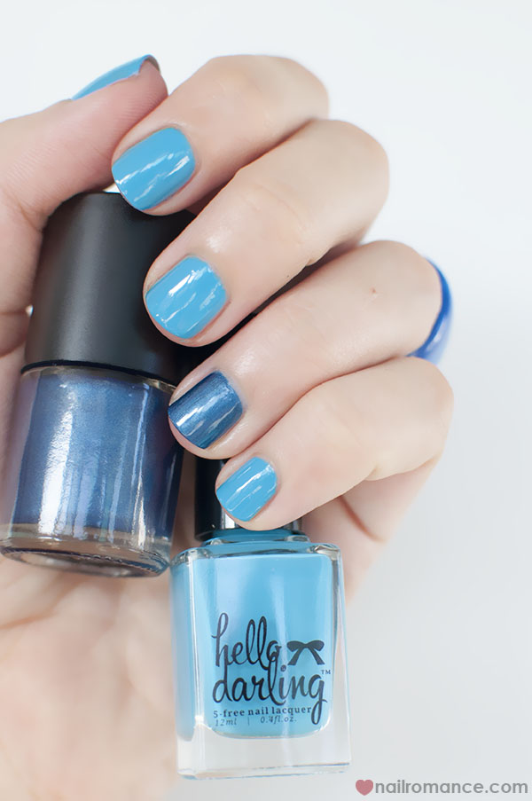 Nail Romance - Hello Darling and BYS blue polish
