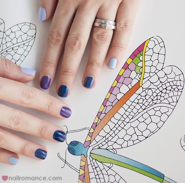Nail Romance - blue purple ombre manicure