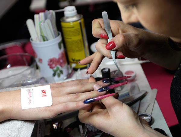 Nail Olympics 2013 - psychedelic stiletto nails
