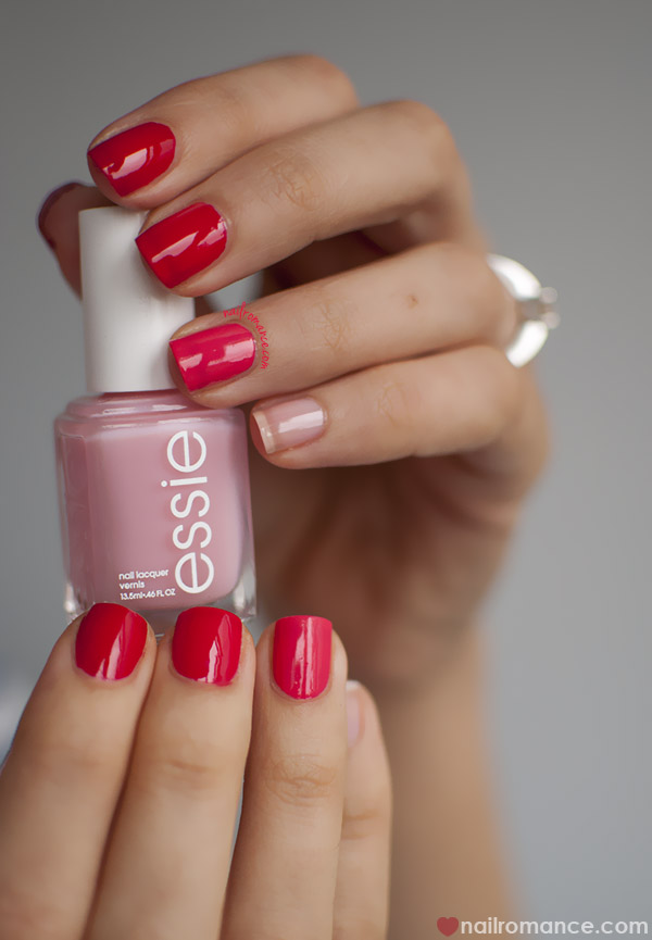 Nail Romance - Essie ombre pink red manicure