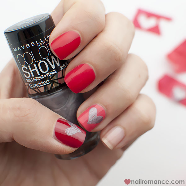 Nail Romance - Shredded Hearts Valentines Day Mani