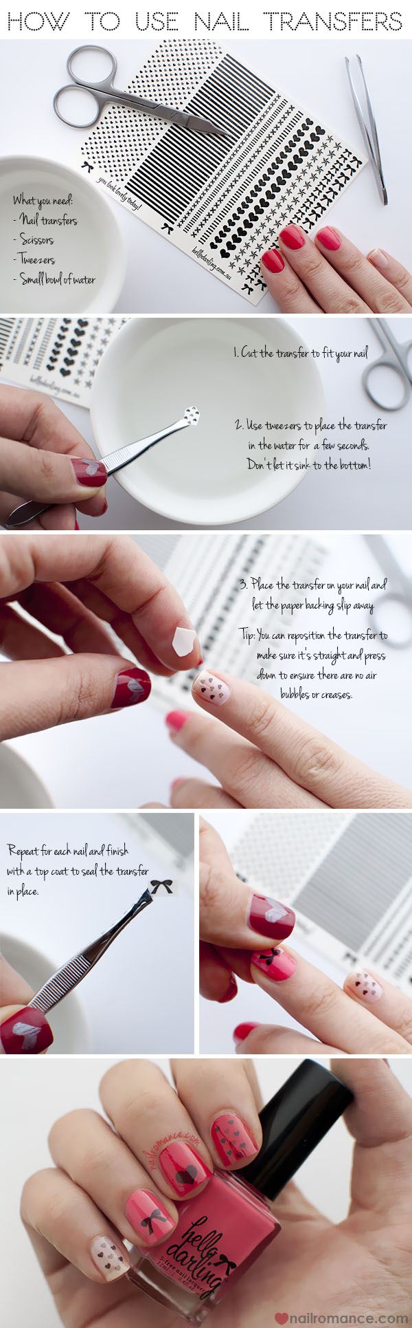 Nail Romance Tutorial - How to use nail transfers