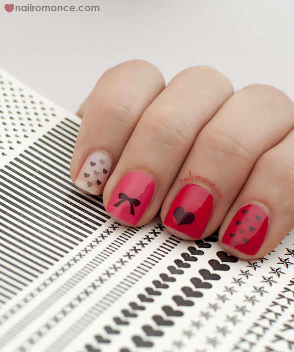 Nail Romance - Valentines Day Manicure - Hello darling transfers