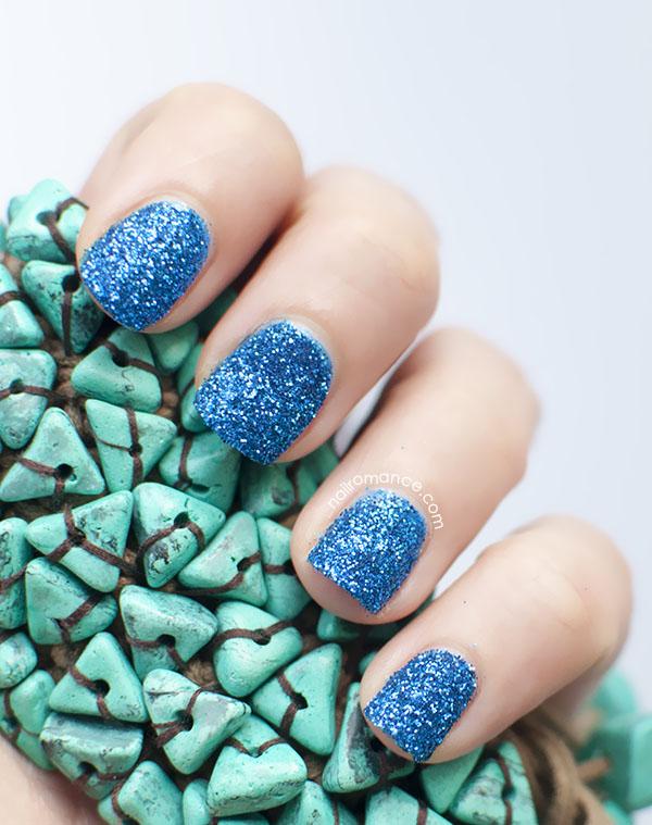 Nail Romance - blue 3d glitter dip nails 2
