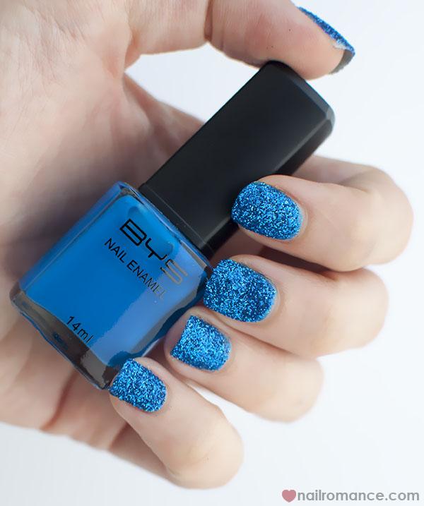 Nail Romance - blue 3d glitter dip nails 4