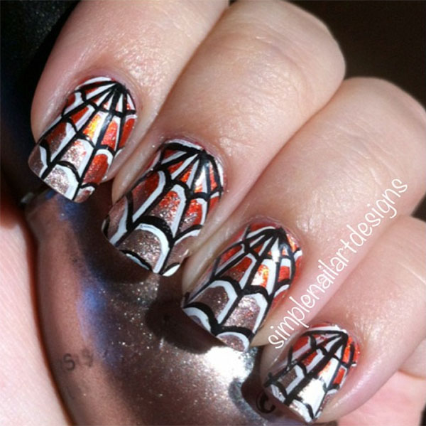Halloween nail art - spiderweb nails