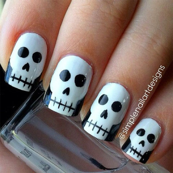 Simple nail art design - halloween skull nail art
