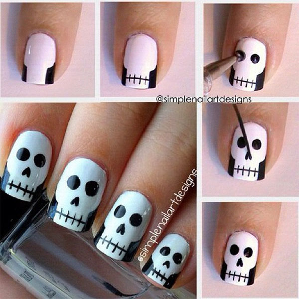 Simple nail art design - halloween skull nails