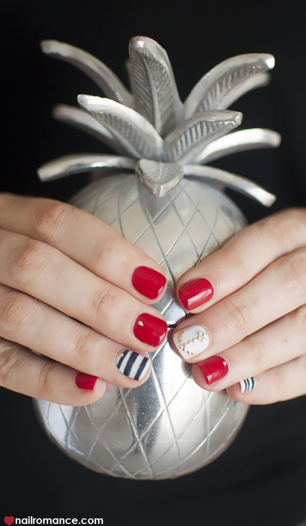 Nail Romance - Sailor nails nautical nail art and a pineapple