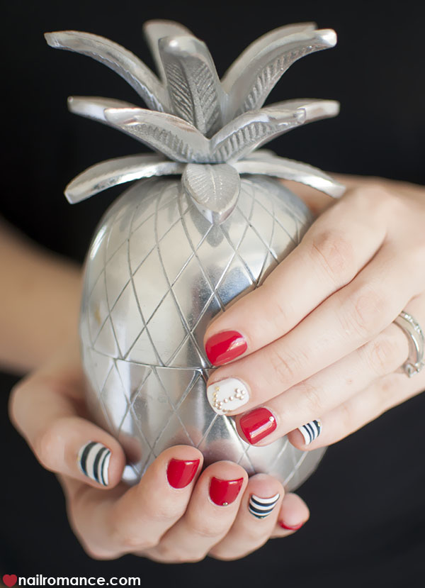 Nail Romance - Sailor nails nautical nail art with a pineapple