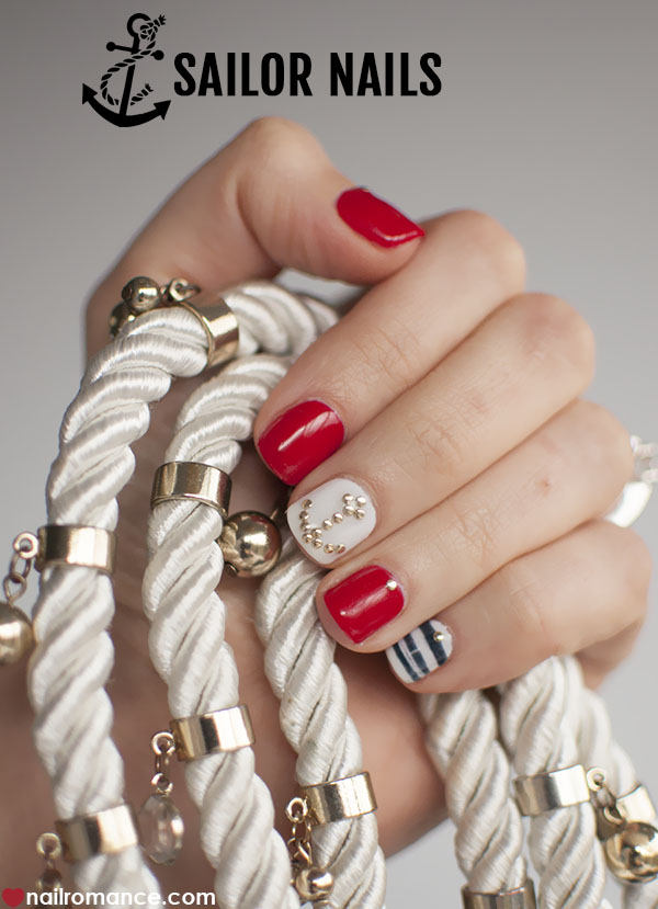 Nail Romance - Sailor nails nautical nail art