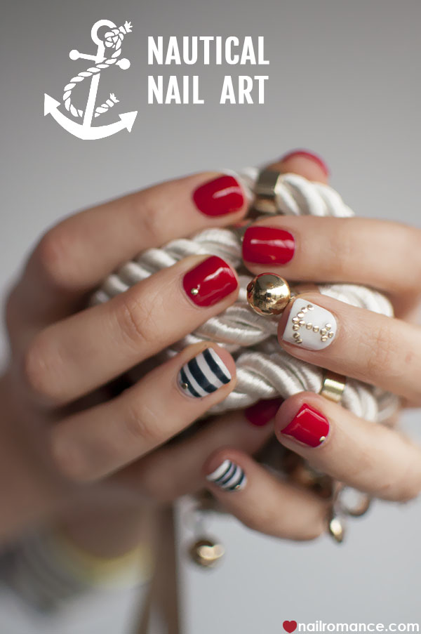 Nail Romance - nautical nail art - Sailor nails